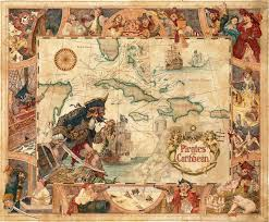 Caribbean Maps by Vintage Disney Pirates Of The Caribbean 11