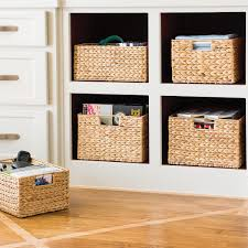 Storage Shelves With Baskets Water Hyacinth Storage Bins With Handles The Container Store