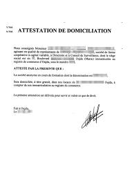 attestation domiciliation si鑒e social autorisation domiciliation si鑒e social 28 images attestation