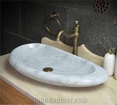 Bathroom Sink Stone Bianco Carrara White Marble Vessel And Oval Basin Handmade Sink