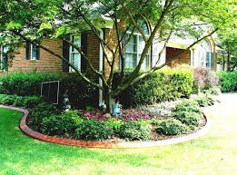 small front yard landscaping house design with various plants