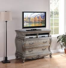 chantelle antique silver grey tv media cabinet console with