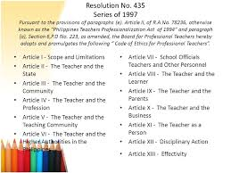 Counseling Code Of Ethics Philippines The Teaching Profession Ppt