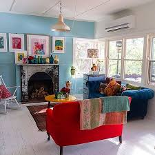 red and turquoise living room 18