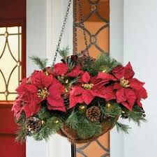 christmas hanging baskets with lights cordless led poinsettia hanging basket decorate in a whole new