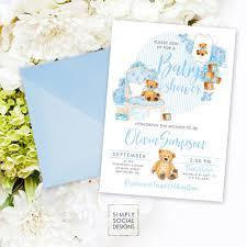 teddy baby shower invitation baby boy baby shower