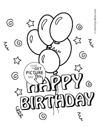 happy birthday coloring pages with balloons for kids coloing