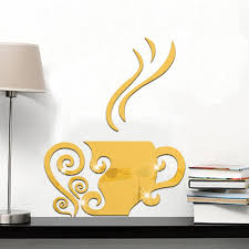creative coffee cup decorative mirror surface wall stickers home