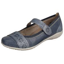 remonte dorndorf denim blue leather flat shoe