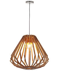 Beacon Lighting Pendant Lights 1 Light Squat Flair Pendant In Wood