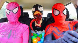 the amazing spiderman u0026 pink spidergirl vs venom dancing in a car