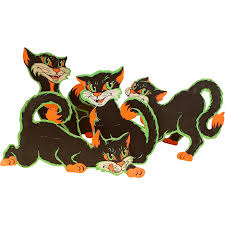 group of four beistle co large halloween die cut cat stand ups ca