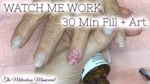 watch me work acrylic nail fill and nail art stamping in 30
