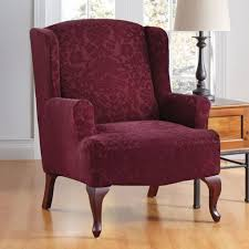 Velvet Wingback Chair Design Ideas Awesome Red Burgundy Velvet Wingback Chair Cover With Classic
