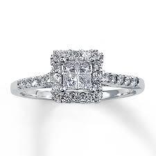 cheap princess cut engagement rings diamond engagement ring 1 2 ct tw princess cut 14k white gold