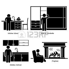 pictogramme chambre accueil maison meubles chiffre de bâton pictogrammes icône images