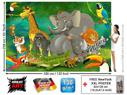 Poster Kinderzimmer Poster Kinderzimmer Dschungel Tiere Wandbild Dekoration Jungle