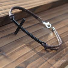 Handmade Mens Bracelets - handmade mens bracelet cross gun black quality brown wax cord