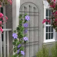 panacea garden arch trellis with finials black achica