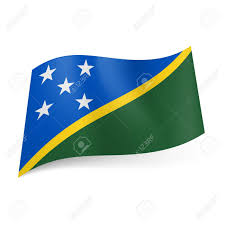 Green White And Yellow Flag National Flag Of Solomon Islands Blue And Green Fields Separated