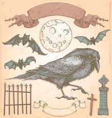 spooky vintage halloween hand drawn vintage halloween spooky crow vector set u2014 stock vector