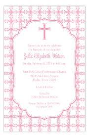 religious invitations pink cross tile pattern baptism invitation polka dot religious