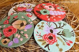 Unique Drink Coasters Botanical Custom Painted Cork Coasters