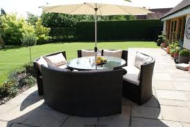 new york rattan outdoor garden furniture round table sofa parasol