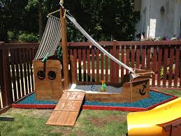 Pirate Ship Backyard Playset by Pirate Ship Playset In A Sea Of Ocean Blue Kindermulch 3 4