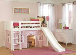 Bunk Beds Sheets Bedroom White Lacquer Loft Bed With Pink Tent And Ladder Also