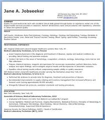 Clinical Resume Examples by Medical Laboratory Technician Resume Sample Creative Resume