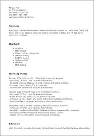 Resume Examples For Office Jobs by Professional Entry Level Database Administrator Templates To