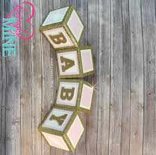 Pink And Gold Baby Shower Decorations by 6 Inch Baby Block Decoration Over 2 Feet Tall Glitter Gold