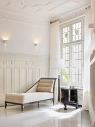 wainscoting ideas for living room tall wainscoting with shelf chaise longue traditional touches