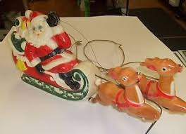 1970 2 pc empire plastic blow mold christmas light up santa