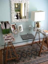 Diy Glass Desk Diy Sawhorse Desk With A Glass Top Shelterness Diy Pinterest