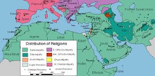 maps ta map of the distribution of religions in the middle east