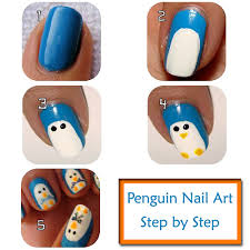 penguin nail art design step by step instructions nails