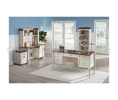 White Computer Desk With Hutch by Realspace Outlet Shore Collection Executive Double Pedestal
