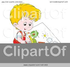 clipart of a cartoon happy blond caucasian boy coloring a page of