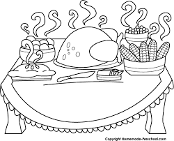 feast clipart thanksgiving food pencil and in color feast