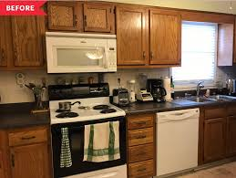 are wood kitchen cabinets outdated townhome kitchen remodel makeover photos apartment therapy