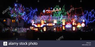 House Christmas Lights by A House On St Neots Road Sandy Bedfordshire Have Switched On
