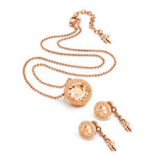 earring necklace set gold images Classy rose gold plated earrings necklace set folli follie jpg