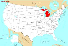 United States On A Map by Michigan On A Map Michigan Map