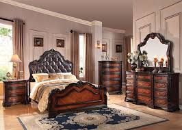 acme le havre panel bedroom set with button tufted headboard in