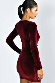 plunge dress kate velvet plunge neck bodycon dress boohoo