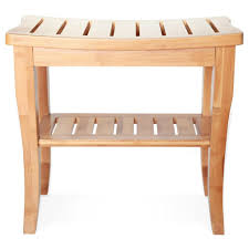 deluxe bamboo shower seat bench with storage shelf photo on