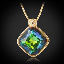 opal pendant necklace images Rainbow fire opal pendant necklace 18k real gold plated shiny jpg