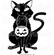 critter clipart of a cheerful black cat sitting and carrying a